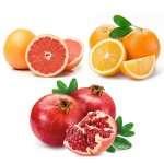 Arance, pompelmi rosa e melagrane